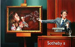 artbubble- hyperrealism acrylic painting by artist painter Gerard Boersma showing auctioneer Tobias Meyer auction painting of girl blowing bubbles at auctionhouse Sotheby's