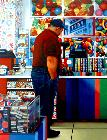Candy Shop- stores and interiors- hyperrealism  painting of man in candy shop by artist Gerard Boersma