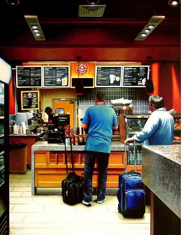 Coffee Bean Airport- hyperrealism acrylic painting by artist painter Gerard Boersma showing people waiting in line at Coffee Bean and Tea Leaf at airport