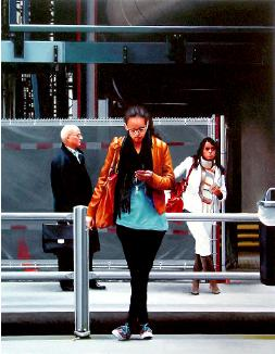 The Hague Central- hyperrealism acrylic painting by artist painter Gerard Boersma showing people on central station in The Hague