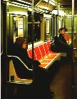 Empty Seats- hyperrealism public transport painting of people taking the subway in New York by artist Gerard Boersma