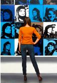 Jackie Kennedy- museum and art within art hyperrealism painting by Gerard Boersma of man enjoying painting by Andy Warhol
