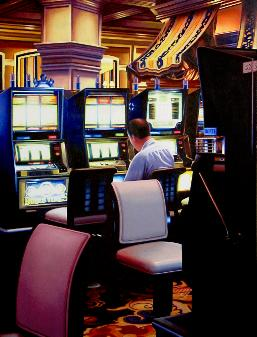 Slot Machines, painting of man hitting the slot machines in Las Vegas