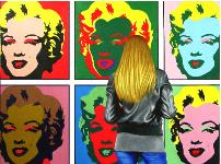 6 Marilyns- hyperrealism acrylic painting by artist painter Gerard Boersma showing a woman enjoying a painting of Marilyn Monroe by Andy Warhol