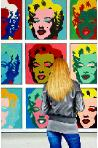 Marilyns- museum and art within art- hyperrealism painting of woman enjoying painting of Marilyn Monroe by Andy Warhol- artist Gerard Boersma