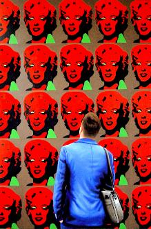 Red Marilyns- museum and art within art- hyperrealism painting of man enjoying painting of Marilyn Monroe by Andy Warhol- artist Gerard Boersma
