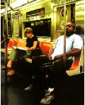 Subway- hyperrealism public transport painting of people riding the New York subway metro by artist Gerard Boersma