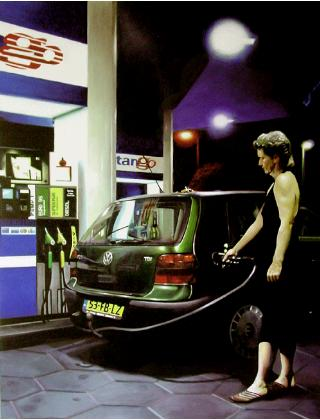 tango- hyperrealism acrylic painting by artist painter Gerard Boersma showing a woman filling up her car with gas at gasstation at night, volkswagen vw