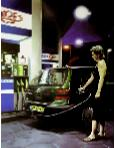 Tango- hyperrealism street scenes painting of woman at Tanga gas station  by artist Gerard Boersma